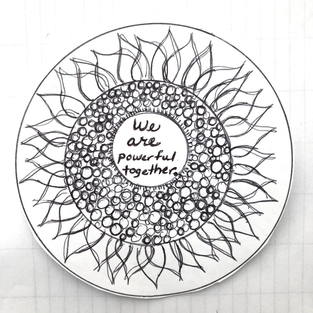 Artwork circles with designs and words