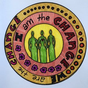 """Concentric circles with image of three women in the center and words """"I am the change; we are the change."""""""