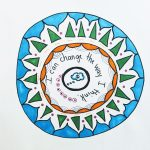 Decorated circle with words and design