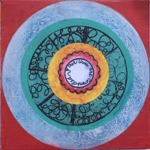 Decorative circle on canvas with the words our lives are connected